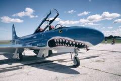 ВИНДЗОР, КАНАДА - SEPT. 10, 2016: Музей реактивного самолета (ВАРЕНЬЕ) T-33 Стоковое фото RF