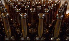 винзаводов Пустые стеклянные пивные бутылки, взгляд сверху Стоковые Изображения RF