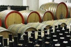 Винный погреб с деревянными бочонками и заполненными стеклянными бутылками 10 Стоковое Изображение RF
