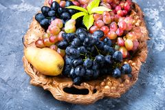 Виноградина и груша осени Стоковые Фото