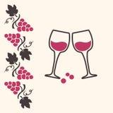 Виноградины и бокалы witn предпосылки украшения r иллюстрация вектора