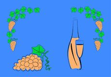 Виноградины и бутылка вина бесплатная иллюстрация
