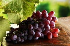 Виноградины на листьях деревянного стола и виноградины Здоровые виноградины вина свежих фруктов Стоковые Изображения RF