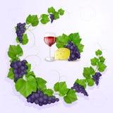 Виноградины с предпосылкой листьев стоковые фотографии rf