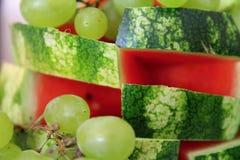 Виноградины и арбуз стоковая фотография
