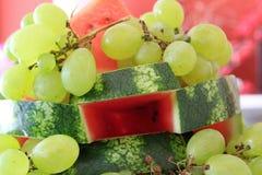 Виноградины и арбуз стоковое фото rf