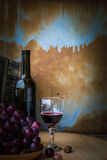 Виноградины и бокалы на деревянном Стоковые Изображения