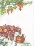 Виноградины и вагонетка с кувшинами Стоковые Изображения