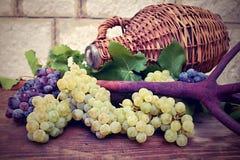 Виноградины и винтажная плетеная бутылка на деревянном столе Стоковые Изображения RF