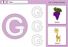 Виноградины и жираф шаржа Рабочее лист алфавита следуя иллюстрация вектора
