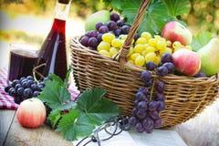 Виноградины и красное вино на таблице Стоковые Фотографии RF