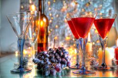 Виноградины и красное вино Стоковое фото RF