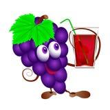 Виноградины и стекло сока иллюстрация вектора
