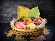 виноградины плодоовощей корзины осени яблок Стоковые Фото
