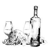 виноградины сыра над белым вином бесплатная иллюстрация