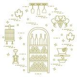 Виноделие: продукция и хранение вина Культура питья Стоковое Изображение RF