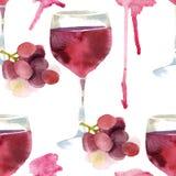 Вино акварели безшовное Стоковая Фотография RF