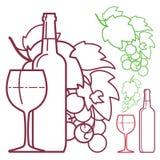 Вино, бокал вина, виноградины и бутылки иллюстрация вектора
