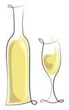 вино бутылочного стекла белое Стоковые Изображения