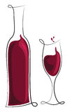 вино бутылочного стекла красное Стоковые Фото