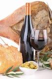 вино ветчины хлеба красное сельское сценарное Стоковые Фото