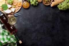 Вино, виноградина, сыр и мед Стоковое Изображение RF