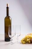 вино виноградин белое Белое вино в бутылке, 2 пустых стеклах a Стоковая Фотография RF