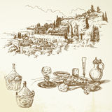 Вино, виноградник, Тоскана Стоковое Изображение