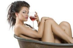 вино девушки красное Стоковые Изображения RF