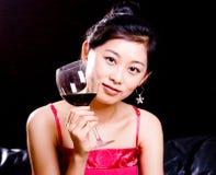вино девушки красное Стоковые Фотографии RF