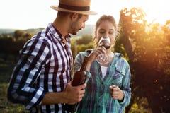 Вино дегустации женщины в винограднике садовода вина Стоковое Изображение RF