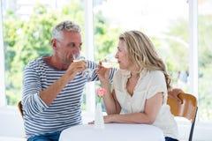 Вино зрелых пар выпивая белое Стоковое Изображение RF
