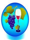Вино и виноградины в круге Стоковые Изображения RF