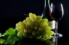 Вино и виноградины на черноте Стоковые Изображения RF