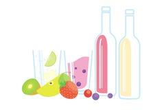 Вино и коктеиль с плодоовощами и ягодами Иллюстрация штока