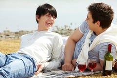 Вино и любовники стоковое изображение rf