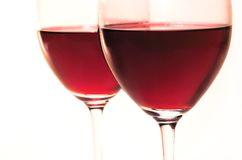 вино красного цвета 2 стекел Стоковое фото RF