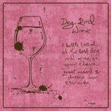 Вино нарисованное рукой красное Стоковое Изображение