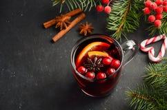 Вино обдумыванное рождеством с апельсином и клюквами Концепция праздника украшенная с ветвями и специями ели Стоковое Изображение RF
