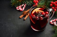 Вино обдумыванное рождеством с апельсином и клюквами Концепция праздника украшенная с ветвями и специями ели Стоковые Изображения