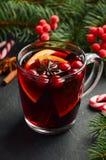 Вино обдумыванное рождеством с апельсином и клюквами Концепция праздника украшенная с ветвями и специями ели Стоковые Фотографии RF