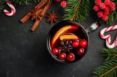 Вино обдумыванное рождеством с апельсином и клюквами Концепция праздника украшенная с ветвями и специями ели Стоковое Изображение