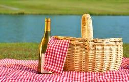 вино пикника корзины Стоковое фото RF