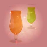 Вино, пить, стекла сока на запачканном bokeh предпосылки Романтичный дизайн картины вина Стоковое Фото