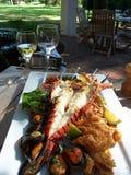 вино продуктов моря имущества стоковые изображения rf