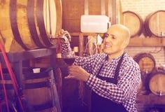 Вино продавца лить от деревянного бочонка Стоковая Фотография RF