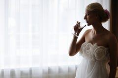 вино силуэта невесты выпивая Стоковое Изображение RF
