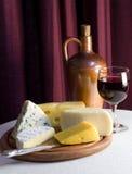 вино стекел сыра красное Стоковое Изображение RF