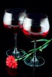 вино стекел цветка красное стоковые изображения