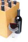 вино стекла фронта коробки бутылки Стоковые Фото